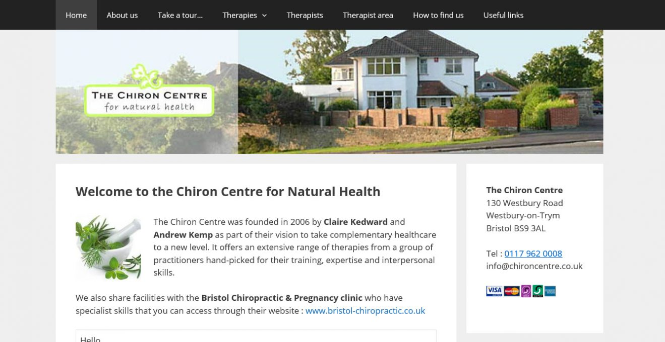 The Chiron Centre website