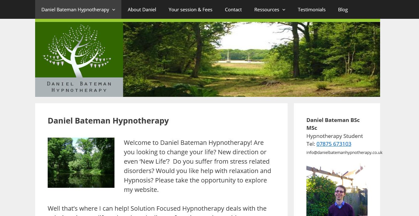 Daniel Bateman Hypnotherapy Website